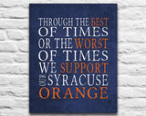 "Syracuse Orange Personalized Art Print- ""Best of Times"" Dickens Parody- Unframed"