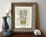 You are the salt of the earth- Matthew 5:13 -Vintage Bible Highlighted Verse Scripture Page- Christian Wall ART PRINT