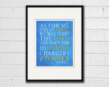 "San Diego Chargers football inspired Personalized Customized Art Print- ""As for Me"" Parody- Unframed Print"