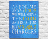 "San Diego Charger Personalized ""As for Me"" Art Print"