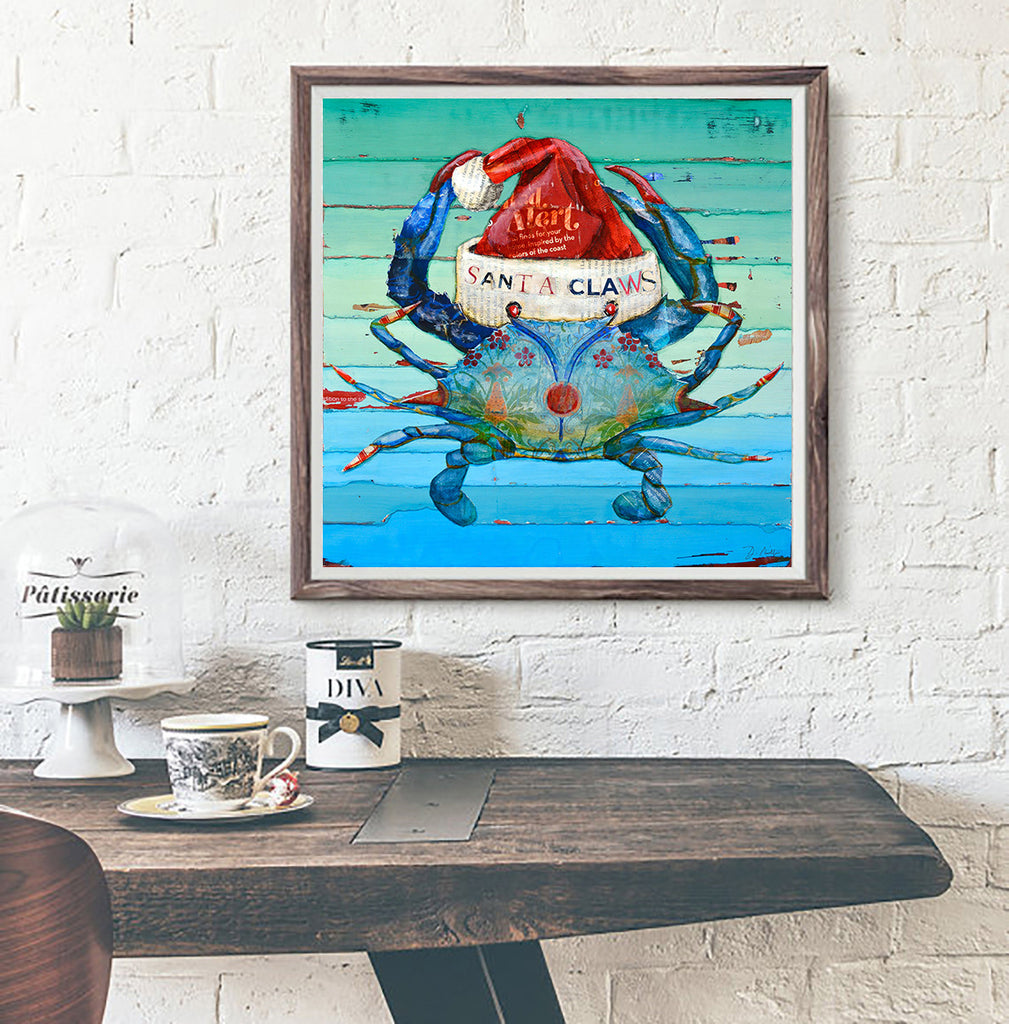 Santa Claws - Danny Phillips Fine Art Print, Christmas Crab with Santa Cap, UNFRAMED, All Sizes