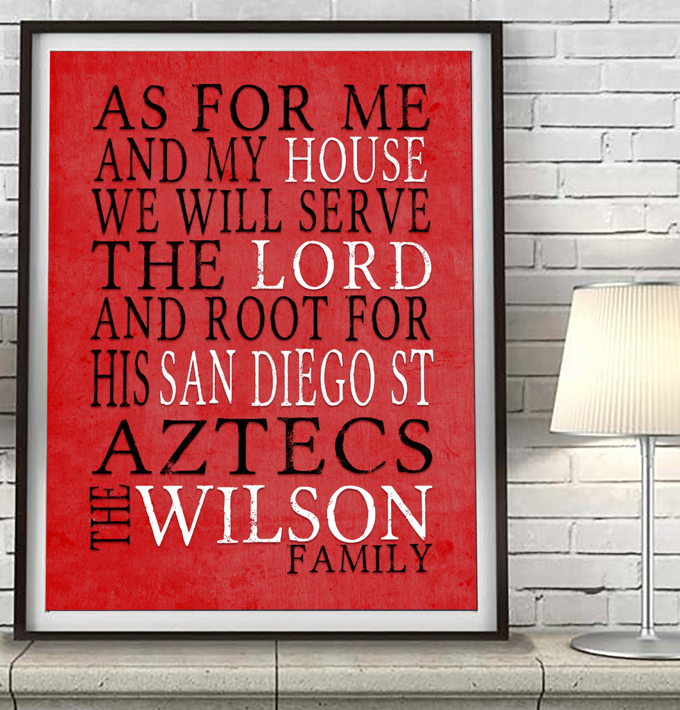 "San Diego State Aztecs personalized ""As for Me"" Art Print"