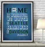 "Seattle Seahawks Personalized ""Home is"" Art Print Poster Gift"