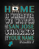 "San Jose Sharks hockey Inspired Personalized & Customized ART PRINT- ""Home Is"" Parody Retro Unframed Print"