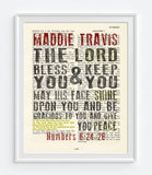 The Lord Bless You-Numbers 6:24-26 Personalized Bible Art Print