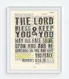 The Lord Bless You - Numbers 6:24-26 - Bible Page Art Print