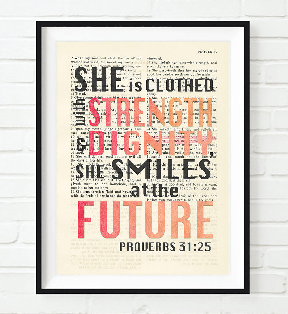 Poster She Is Clothed With Strength: She Is Clothed In Strength And Dignity-Proverbs 31:25