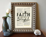 Faith not Sight - 2 Corinthians 5:7 - Vintage Bible Highlighted Verse Scripture Page- Christian Wall ART PRINT