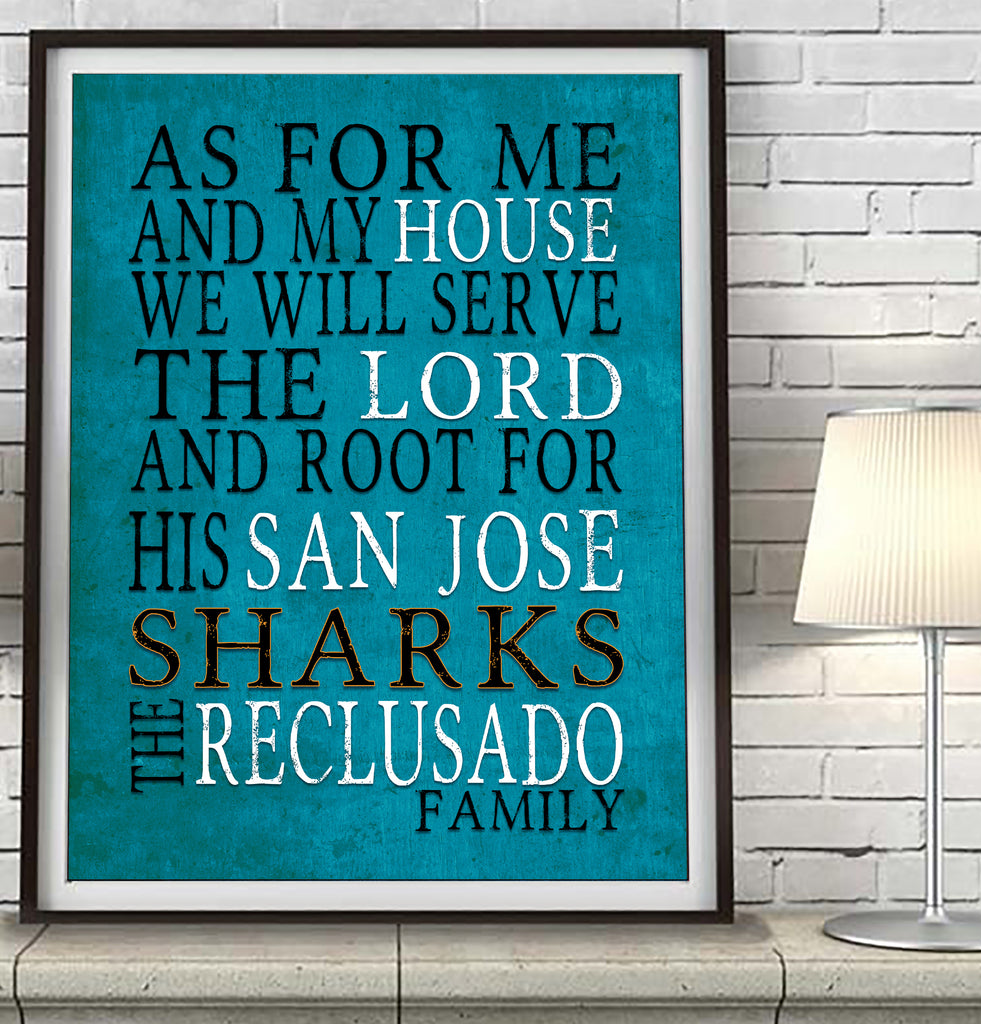 "San Jose Sharks Personalized ""As for Me"" Art Print"