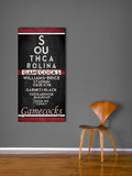 "South Carolina Gamecocks ""Eye Chart"" ART PRINT, Sports Wall Decor, man cave gift for him, Unframed"