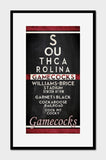 "South Carolina Gamecocks ""Eye Chart"" ART PRINT"