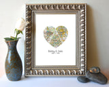 Custom Wedding Vintage 3 Heart Map locations - Couples- Engagement -Anniversary gift UNFRAMED ART PRINT