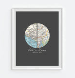 Custom Wedding Circle 2 Maps ART PRINT