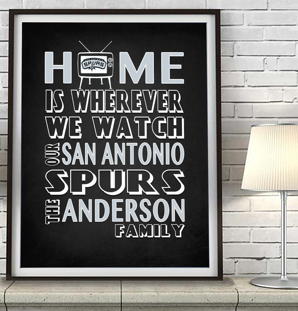"San Antonio Spurs Personalized ""Home is"" Art Print Poster Gift"