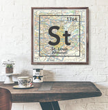 St. Louis Missouri St- Vintage Periodic Map ART PRINT- unframed