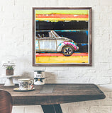 I Wear My Sunglasses at Night VW Volkswagen Bug Beetle Neon - Mixed Media Collage -Danny Phillips Fine Art Print