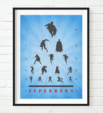 Superhero Eye Chart Art Print,  UNFRAMED, All Sizes