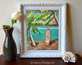 Surf's Up - Danny Phillips Fine Art Print, Palm Trees with Surfboard at Beach, UNFRAMED, All Sizes