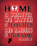 "Texas Tech Red Raiders Personalized Customized Art Print- ""Home Is"" Parody- Retro, Vintage-  Unframed Print"