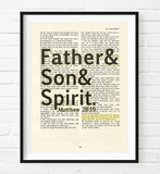 Father& Son& Spirit - Matthew 28:19 Bible Page Christian ART PRINT