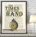 My times are in Your hand- Psalms 31:15-Vintage Bible Highlighted Verse Scripture Page- Christian Wall ART PRINT