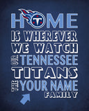 "Tennessee Titans inspired Personalized/Customized Art Print- ""Home Is"" Parody- Retro, Vintage-  Unframed Print"