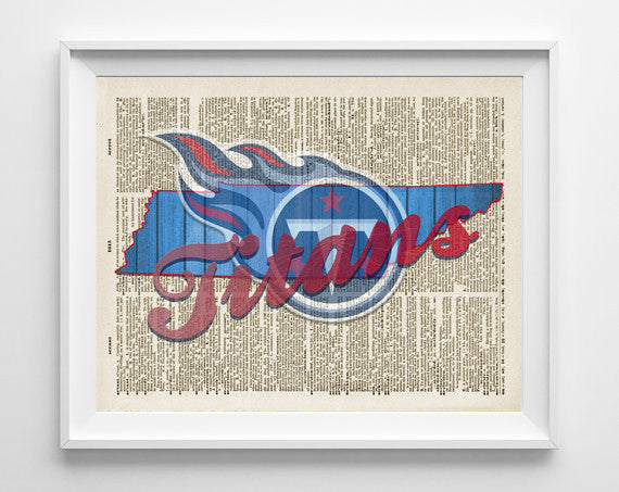 Tennessee Titans football inspired Art Print on old Dictionary Pages, Unframed