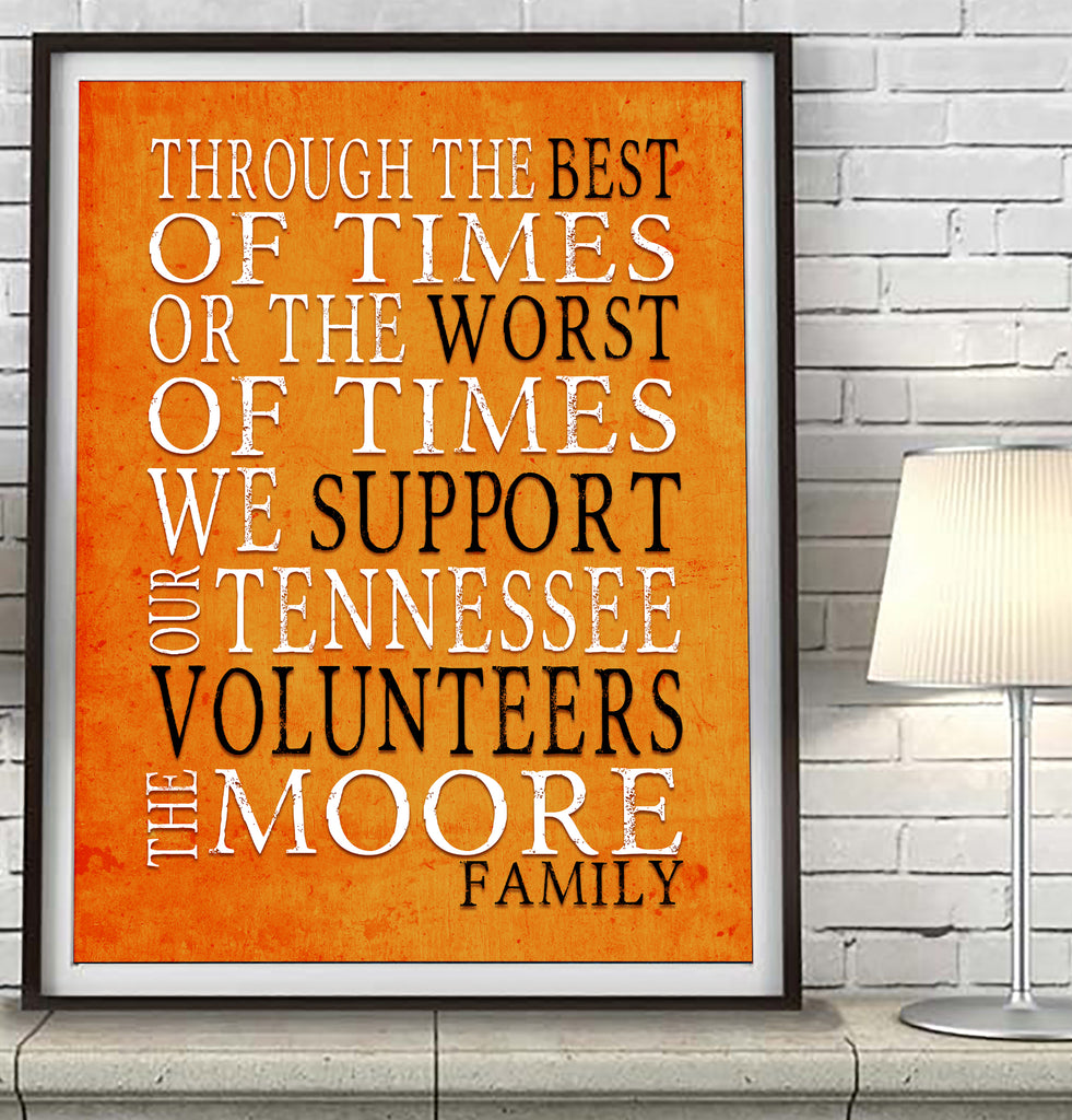 "Tennessee Volunteers Personalized ""Best of Times"" Art Print Poster Gift"