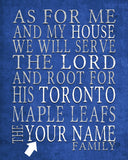 "Toronto Maple Leafs Personalized ""As for Me"" Art Print"
