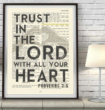 Trust in the Lord- Proverbs 3:5-Bible Page Art Print