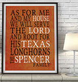 "Texas Longhorns Personalized ""As for Me"" Art Print"