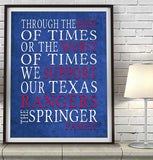 "Texas Rangers Baseball Personalized ""Best of Times"" Art Print Poster Gift"