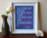 "Texas Rangers Personalized ""As for Me"" Art Print"