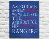 "Texas Rangers baseball inspired Personalized Customized Art Print- ""As for Me"" Parody- Unframed Print"