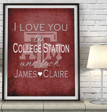 Texas A&M Aggies-I Love You to College Station and Back-Art Print Poster Gift