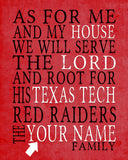 "Texas Tech Red Raiders inspired Personalized Customized Art Print- ""As for Me"" Parody- Unframed Print"