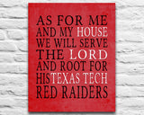 "Texas Tech Red Raiders Personalized ""As for Me"" Art Print"