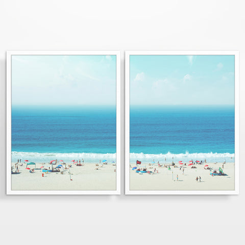 Beach Horizon from Above Photography Prints, Set of 2, Coastal Wall Decor