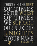 "UCF Knights Personalized ""Best of Times"" Art Print Poster Gift"