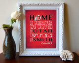 "Utah Utes Personalized ""Home is"" Art Print Poster Gift"