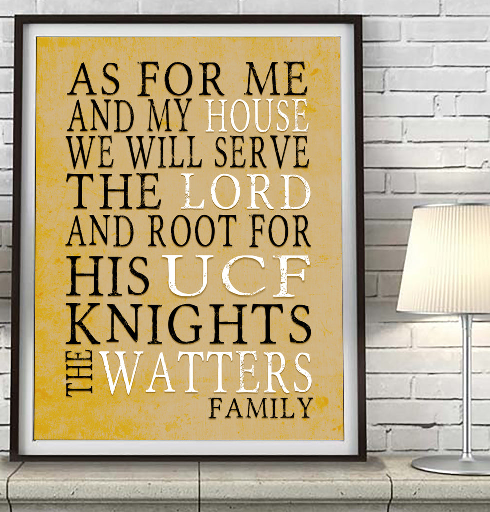 "UCF Central Florida Knights Personalized ""As for Me"" Art Print"