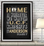 "UCF Knights Florida Personalized ""Home is"" Art Print Poster Gift"