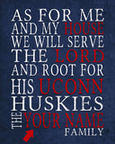 "UCONN Huskies Connecticut inspired Personalized Customized Art Print- ""As for Me"" Parody- Unframed Print"