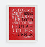 "Utah Utes inspired Personalized Customized Art Print- ""As for Me"" Parody- Unframed Print"