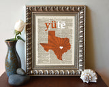 Texas Longhorns UT inspired Phonics/Phonetic ART PRINT Using Old Dictionary Pages, Unframed