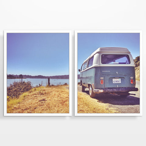 Blue Volkswagen Vw Bus at Lake Photography Prints, Set of 2, Adventure Wall Decor