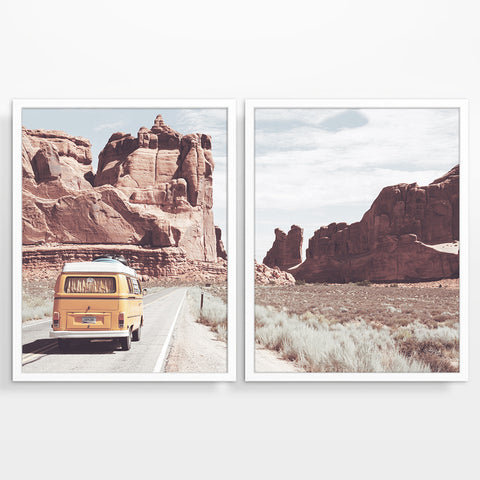 Volkswagen Vw Bus in Arizona Photography Prints, Set of 2, Adventure Wall Decor