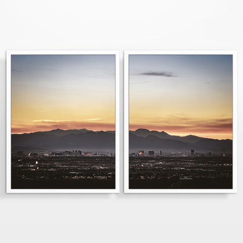Las Vegas Nevada City Skyline at Sunset Photography Prints, Set of 2, Landscape Wall Decor