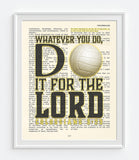 Whatever you do- Volleyball -Colossians 3:23 Bible Page Art Print