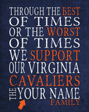 "Virginia Cavaliers Personalized ""Best of Times"" Art Print Poster Gift"